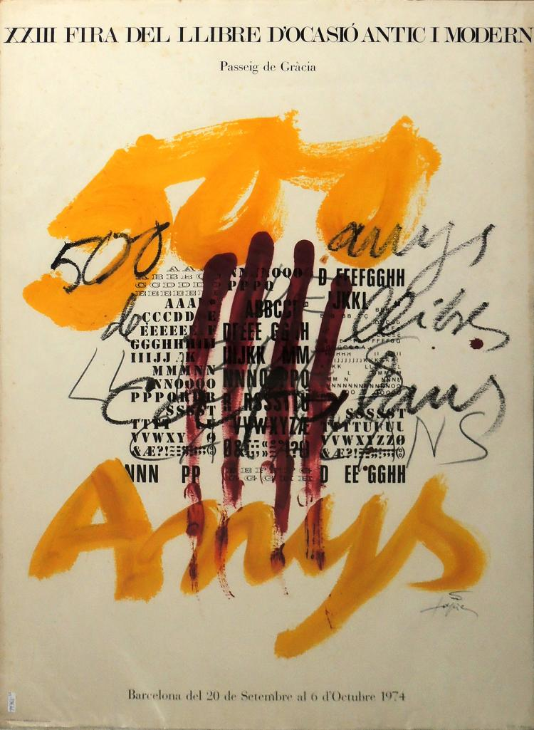 ANTONI TÀPIES poster for the XIII book fair, year 1974, signed on a plate, 75x56 cm.