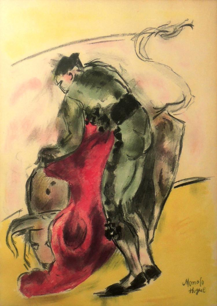 COLLECTION OF FOUR LITHOGRAPHS OF MANOLO HUGUÉ two of them signed,