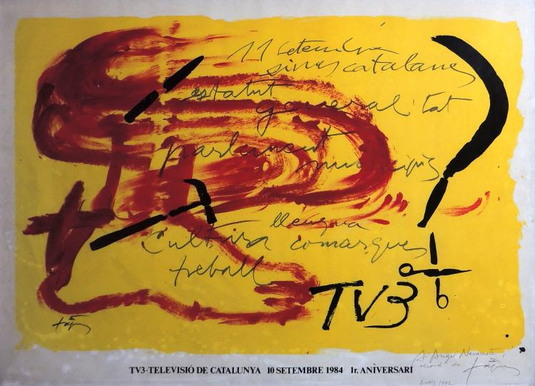 ANTONI TÀPIES lithograph signed and dedicated to pencil,