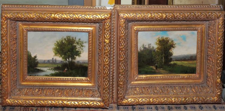 ILLEGIBLE (2) pair of oil paintings on canvas,