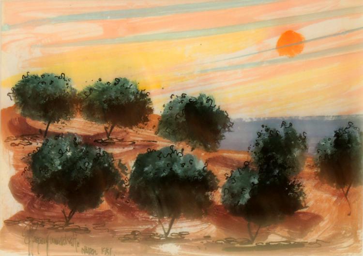PAGANS MONSALVATGE mixed media, Landscape, 1981