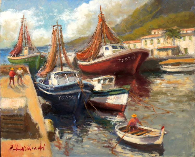 FRANCESC CARBONELL MASSABÉ oil on canvas, Boats at rest, Tarragona