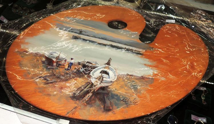 MHALER oil on palette of painter,