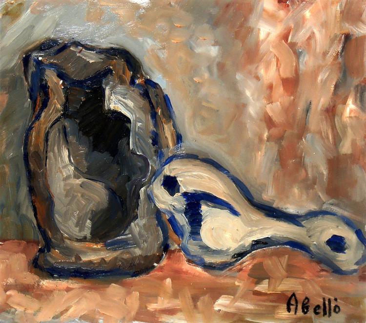 JOAN ABELLÓ oil on linoleum,