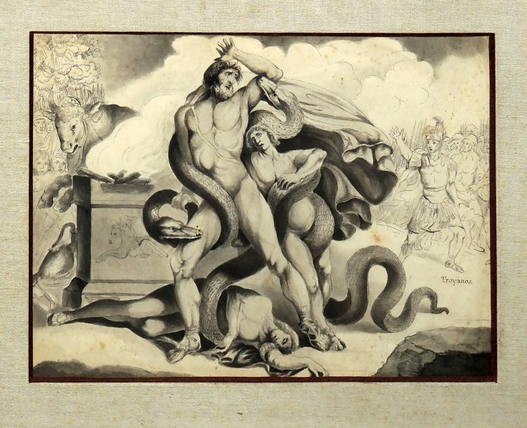 JOSEPH-BERNARD FLAUGIER preparative drawing on paper,