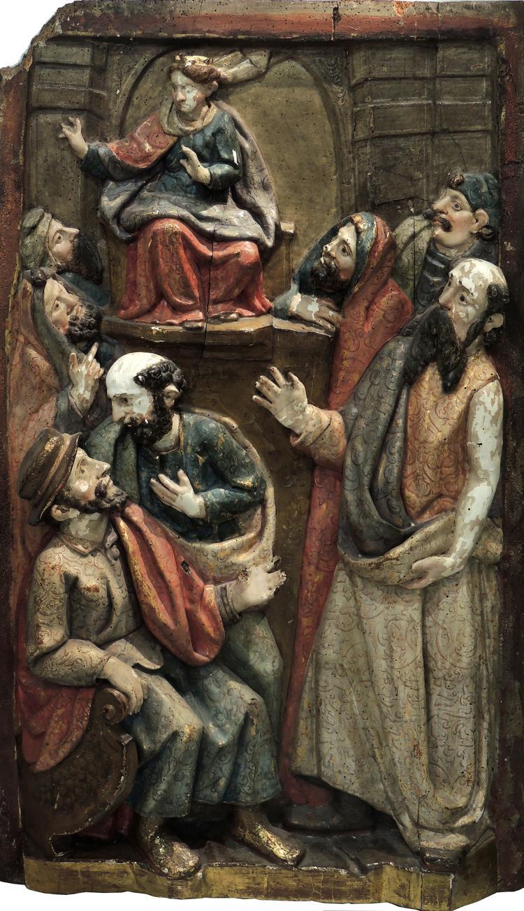 SPANISH SCHOOL S.XVI - STYLE OF JUAN DE ANCHETA polychromatic altarpiece representing
