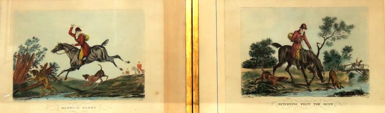 COUPLE OF COLORED ENGLISH ENGRAVINGS,