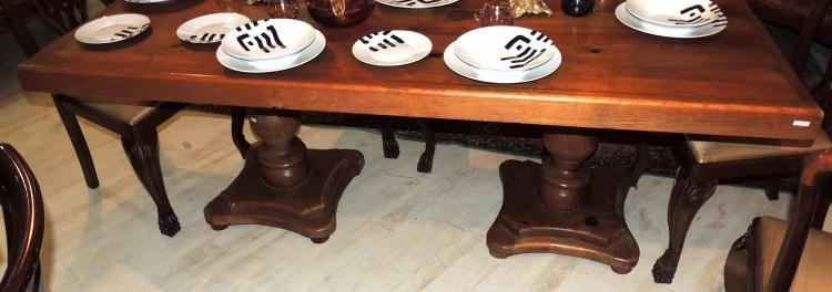 Dining Table With Structure In Wood And Compressed Wood On L