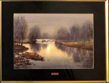 "MANUEL BORDALLO SOLÉ (1920-1996) watercolor, ""Bridge with river"", 33x49 cm."