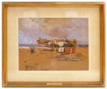 """Andrés LARRAGA Y MONTANER (1861-1931) """"Pescadoras"""" acuarela sobre papel cartón 25x34 cm."""