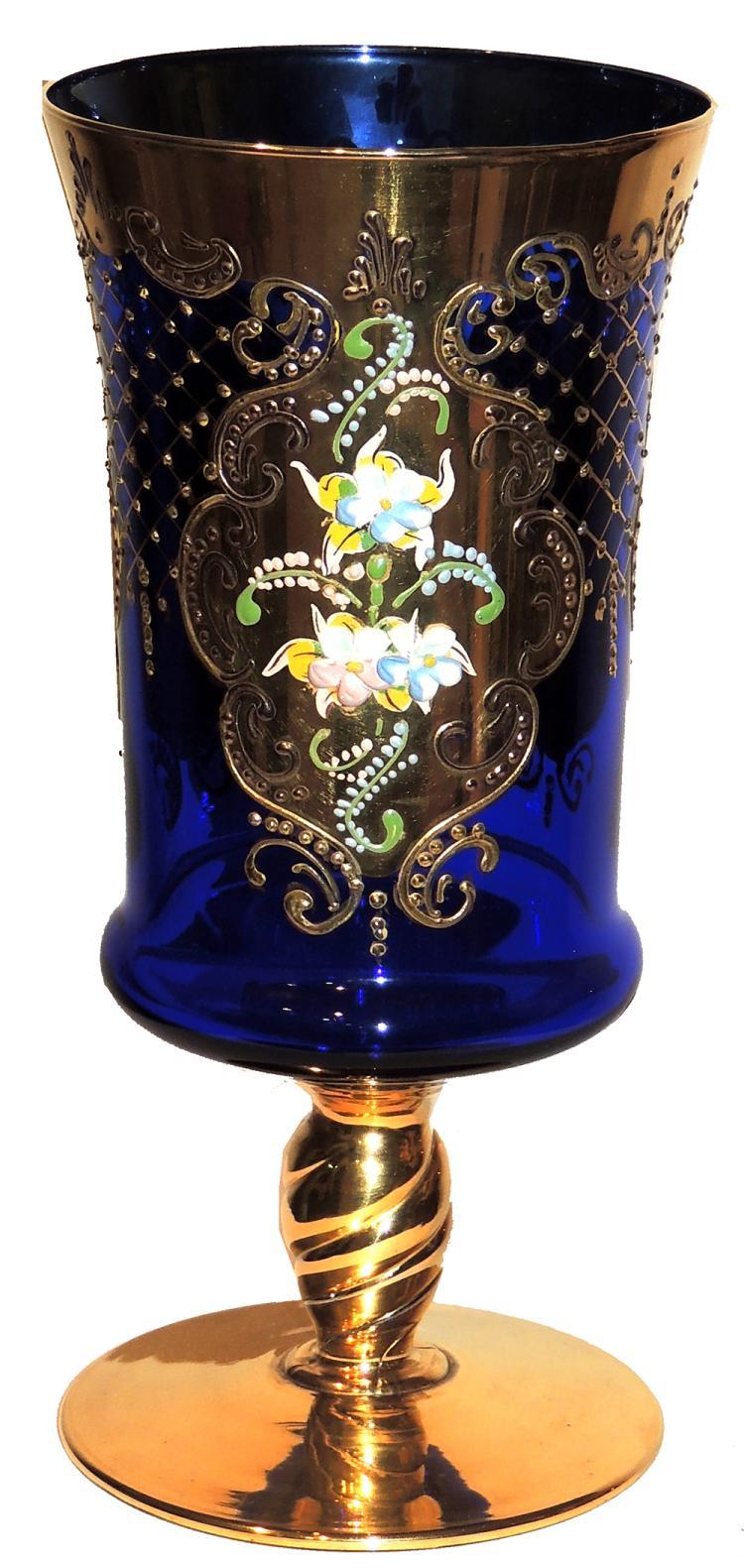 Blue glass vase for Jardin glass vases 7 in