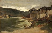 "ANDRÉS LARRAGA (1861-1931) oil on canvas, ""Rural landscape"", signed on the back 1887, 22x31 cm."