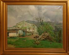 """Jordi FREIXAS CORTES (1917-1984) """"Farm"""" oil on can…"""