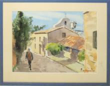 "Manuel BORDALLO SOLÉ (1920-1996) ""Calle de pueblo"" acuarela sobre papel 27x36 cm."