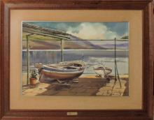 """Manuel BORDALLO SOLÉ (1920-1996) """"Barcas"""" acuarela sobre papel 36x51 cm."""