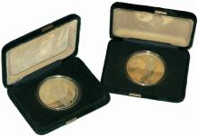 TWO SILVER COMMEMORATIVE MEDALS 'CALGARY 1988'