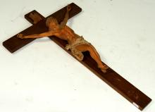 CARVED WOOD CRUCIFIED CHRIST FIGURE