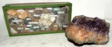 AMETHYST GEODE AND MINERALS BOX