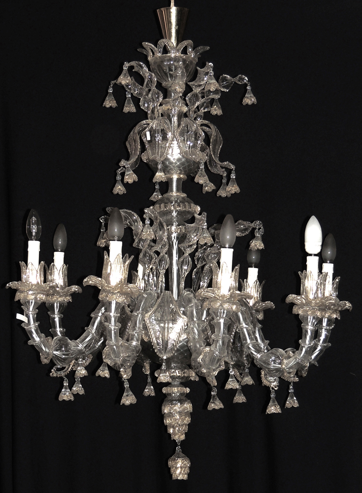 Eight lights blown murano glass chandelier Blown glass chandelier