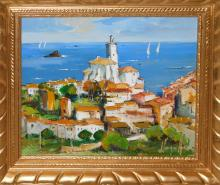 "Joan SARQUELLA (1956) ""Cadaqués"" óleo sobre tabla 40x48 cm."