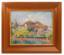 """Josep FERRE REVASCALL (1907-2001) """"Santuario de la Misericordia de Reus"""" óleo sobre tabla 33x39 cm."""