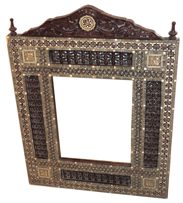 Oriental Mirror With Mother Of Pearl Inlays Frame