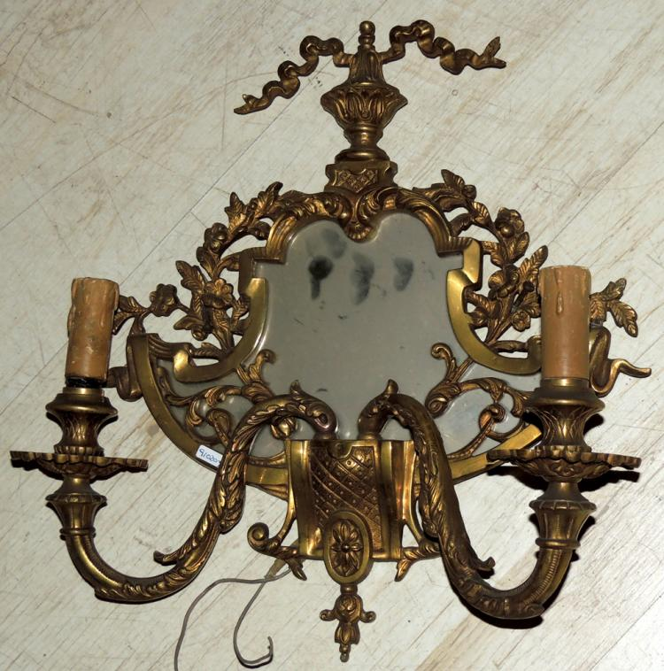 Wall Lights With Mirror : SET OF FOUR BRONZE WALL LIGHTS WITH MIRROR