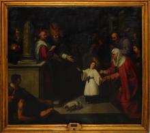 """Jacopo CHIMENTI da Empoli (Attrib.) (c.1554-1640) """"Presentación de la virgen en el templo"""" óleo sobre lienzo 80x90 cm. Una atribución describe """"la penúltima figura de la izquierda del espectador es el retrato del autor""""."""