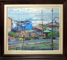 "PERE ARRIBAS (1924-1996) oil on canvas, ""Dia gris, 1987"", 54x65 cm."