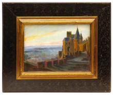 """Lluis MASRIERA (1872-1958) """"Castillo sobre el mar"""" óleo sobre tabla 24x33 cm. Con etiqueta de la Galería Alfama en el reverso. Acompaña un """"auca con dibujos del mismo autor dedicada a su amigo Joan Farnés"""""""