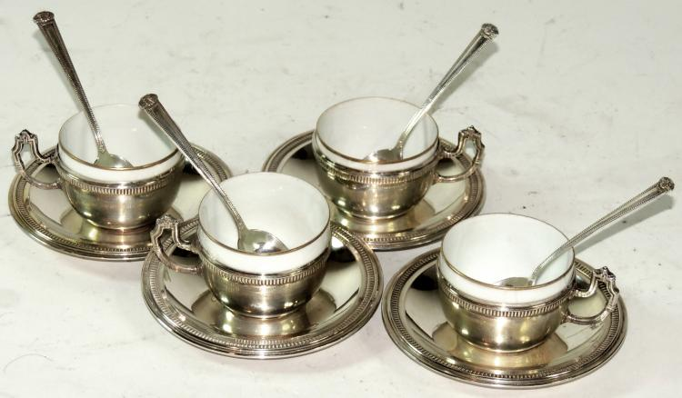 Set of twelve silver cups saucers and teaspoons for 6 table spoons to cups