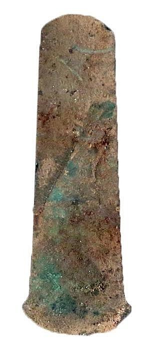 AN EARLY BRONZE AGE COPPER AXE Ca. 3000 BCE. With nice patina and in very good condition. 14.7