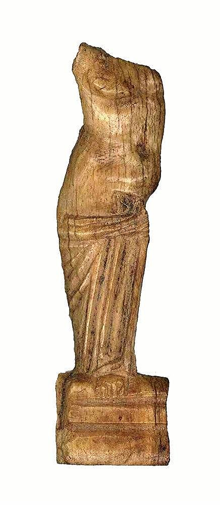 A ROMAN FRAGMENTARY BONE FIGRINE OF APHRODITE, FOUND IN 1934 IN POMPEI 1st century CE. The goddess s