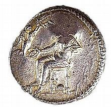CILICIA, NAGIDOS. Ca. 360 – 333 BCE Silver stater 10.0 gr. Obv.: Aphrodite seated left, holding