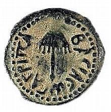 """AGRIPPA I, 42 CE Bronze prutah, 18 mm. Obverse: Canopy, Greek inscription """"King Agrippa"""". Rever"""