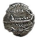 SIDON, 4th CENTURY BCE Silver 1/8 shekel, 0.7 gr. Obverse: War galley to l. Reverse: Persian ki