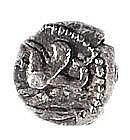 TYRE, 4th CENTURY BCE Silver obol, 0.4 gr. Obverse: Hyppocamp swimming to l. Reverse: Owl stand