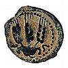 "AGRIPPA I, 42 CE Bronze prutah, 19 mm. Obverse: Canopy, Greek inscription ""King Agrippa"". Rever"