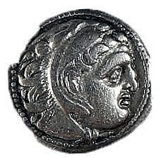 ALEXANDER THE GREAT, 336 – 323 BCE Silver drachm, 4.0 gr. Obverse: Head of Herakles with lion s