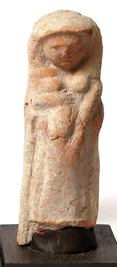 A TERRACOTTA PREGNANT FIGURINE Persian Period, 5th-4th century BCE. 16.5 cm high. A fragment mi