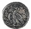 TRAJAN, 98 – 117 CE Silver Tetradrachm, 14.2 gr. Obverse: Head of Trajan to r. Reverse: Eagle s