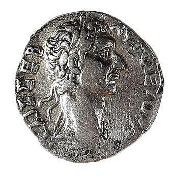 NERVA, 96 – 98 CE Silver tetradrachm, 15.2 gr. Obverse: Bust of Nerva to r. Reverse: Eagle stan
