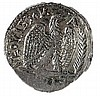 NERVA, 96 – 98 CE Silver tetradrachm, 15.2 gr. Obverse: Bust of Nerva to r. Reverse: Eagle stan