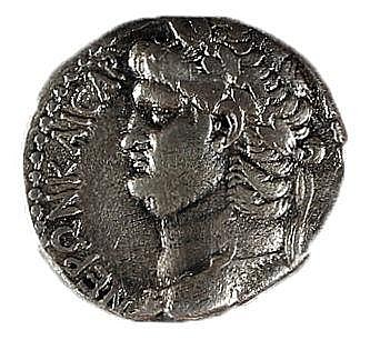 NERO, 54 – 68 CE Silver tetradrachm, 14.5 gr. Obverse: Head of Nero to r. Reverse: Eagle standi