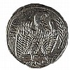NERO, 54 – 68 CE Silver tetradrachm, 14.7 gr. Obverse: Head of Nero to r. Reverse: Eagle standi