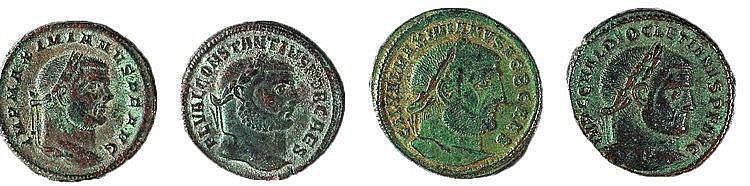 A LOT OF 4 ROMAN BRONZE FOLIS Two of Maximianus 286-305, 306-308 and 310 CE, one of Diocletian,