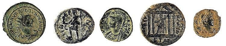 A LOT OF 5 BRONZE COINS Two city coins of Tiberias, Hadrian, 117 – 138 CE, Rosenberger 12 and 1