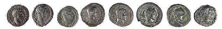 A LOT OF 8 ROMAN SILVER DENARII Marcus Aurelius, 2 of Commodus, Geta, 2 of Alexander Severus, C