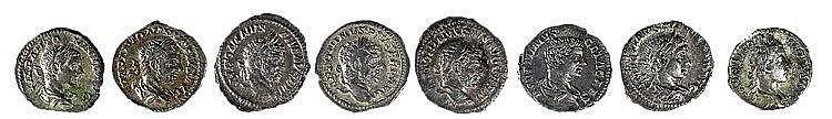 A LOT OF 8 ROMAN SILVER DENARII Commodus, Geta, Alexander Severus and 5 of Caracalla. Very Fine