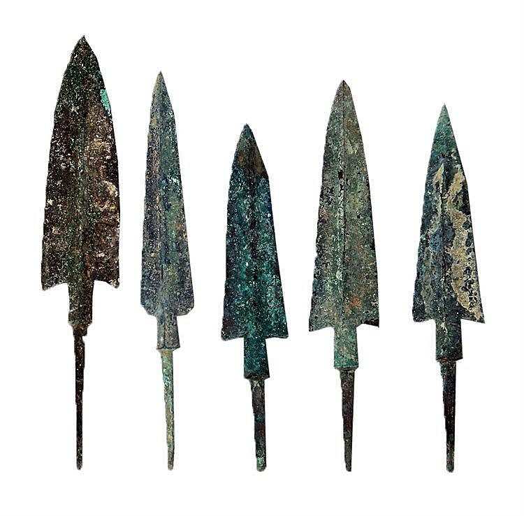 A LOT OF 5 BRONZE JAVELIN HEADS  2nd-1st millennium BCE. With very nice patina and in very good cond